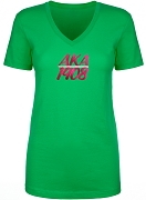 Alpha Kappa Alpha Greek Letter Ladies Cut T-Shirt with Founding Year, Kelly Green - EMBROIDERED with Lifetime Guarantee (LAT)