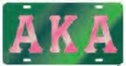 Alpha Kappa Alpha License Plate with Pink Letters on Kelly Green Background (CQ)