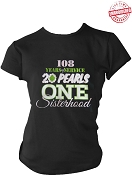 Alpha Kappa Alpha Service, Pearls, & Sisterhood T-Shirt, Black - EMBROIDERED with Lifetime Guarantee