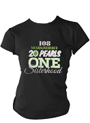Alpha Kappa Alpha Service, Pearls, & Sisterhood Screen Printed T-Shirt, Black