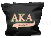 Alpha Kappa Alpha Letter Tote Bag with Tail Patch, Black (NS)