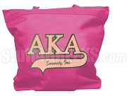 Alpha Kappa Alpha Letter Tote Bag with Tail Patch, Hot Pink (NS)