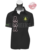 Alpha Kappa Alpha Xi Tau Omega Chapter Short Sleeve Button Down Shirt with Greek Letters and Embellished Crest, Black - EMBROIDERED with Lifetime Guarantee