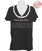 Alpha Kappa Alpha Zeta Nu Omega Chapter V-Neck Shirt with Pretty Girl Pearls and 1855 Founding Year, Black - EMBROIDERED with Lifetime Guarantee