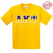 Alpha Kappa Psi Half Letters T-Shirt, Gold - EMBROIDERED with Lifetime Guarantee