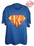 Alpha Kappa Psi T-Shirt with Superman Letters, Royal Blue - EMBROIDERED with Lifetime Guarantee