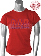 Alpha Lambda Omega T-Shirt with Greek Letters, Red - EMBROIDERED with Lifetime Guarantee