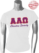 Alpha Lambda Omega T-Shirt with Greek Letters, White - EMBROIDERED with Lifetime Guarantee