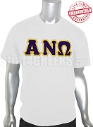 Alpha Nu Omega Men's T-Shirt with Greek Letters, White - EMBROIDERED with Lifetime Guarantee