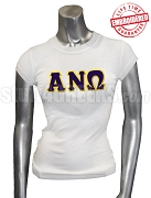 Alpha Nu Omega Ladies' T-Shirt with Greek Letters, White - EMBROIDERED with Lifetime Guarantee