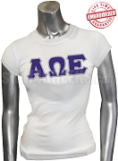 Alpha Omega Epsilon T-Shirt with Greek Letters, White - EMBROIDERED with Lifetime Guarantee