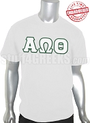 Alpha Omega Theta Christian Fraternity Greek Letter T-Shirt, White - EMBROIDERED with Lifetime Guarantee