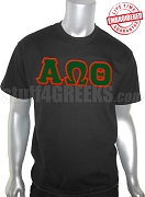 Alpha Omega Theta Greek Letter T-Shirt, Black - EMBROIDERED with Lifetime Guarantee