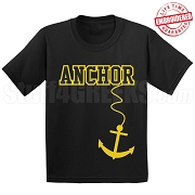 Anchor T-Shirt, Black/Old Gold - EMBROIDERED with Lifetime Guarantee
