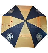 Alpha Phi Alpha Auto Open Golf Umbrella with Shield and Pharaoh, Black/Gold (NS)