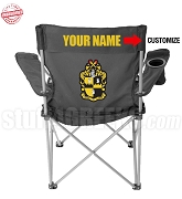 Alpha Phi Alpha Crest Lawn Chair with Choice of Text, Black - EMBROIDERED WITH LIFETIME GUARANTEE