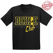 Deuce Club Black/Old Gold T-Shirt - EMBROIDERED with Lifetime Guarantee