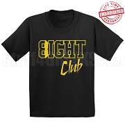 8/Eight Club Black/Old Gold T-Shirt - EMBROIDERED with Lifetime Guarantee
