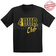 4/Four ClubBlack/Old Gold  T-Shirt - EMBROIDERED with Lifetime Guarantee