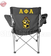 Alpha Phi Alpha Crest Lawn Chair with Greek Letters, Black - EMBROIDERED WITH LIFETIME GUARANTEE