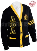 Alpha Phi Alpha Greek Letter Cardigan with Crest and Gold Stripes, Black (A+)