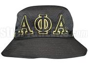 Alpha Phi Alpha Greek Letters Floppy Bucket Hat with Founding Year, Black (NS)
