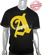 Alpha Phi Alpha Single Old English Letter Black T-Shirt - EMBROIDERED with Lifetime Guarantee