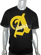 Alpha Phi Alpha Single Old English Letter Black Screen Printed T-Shirt