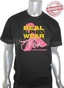 Alpha Phi Alpha Pink Ribbon Breast Cancer Awareness Black T-Shirt - EMBROIDERED with Lifetime Guarantee