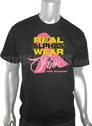 Alpha Phi Alpha Pink Ribbon Breast Cancer Awareness Screen Printed T-Shirt, Black