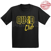 4/Quad Club Black/Old Gold T-Shirt - EMBROIDERED with Lifetime Guarantee