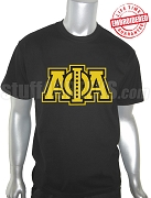 Alpha Phi Alpha Triple Layered Greek Letter Black T-Shirt with Jewels - EMBROIDERED with Lifetime Guarantee