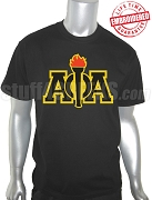 Alpha Phi Alpha Greek Letter Black T-Shirt with Torch - EMBROIDERED with Lifetime Guarantee