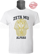 Alpha Phi Alpha Zeta Mu Chapter T-Shirt with Vintage Pharaoh, White - EMBROIDERED with Lifetime Guarantee
