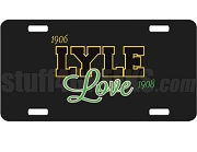 Alpha Phi Alpha/Alpha Kappa Alpha Lyle Love Dye-Sublimated License Plate on Black Background