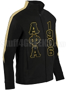 Alpha Phi Alpha Track Jacket with Greek Letters and Founding Year, Vegas/Black (AUG)