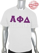 Alpha Phi Delta Greek Letter T-Shirt, White - EMBROIDERED with Lifetime Guarantee