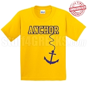 Anchor T-Shirt, Gold/Royal - EMBROIDERED with Lifetime Guarantee