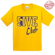 5/Five Club T-Shirt, Gold/Royal - EMBROIDERED with Lifetime Guarantee