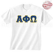 Alpha Phi Omega T-Shirt, White - EMBROIDERED with Lifetime Guarantee