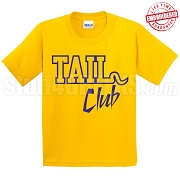 Tail Club T-Shirt, Gold/Royal - EMBROIDERED with Lifetime Guarantee
