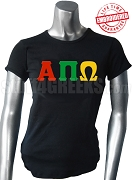 Alpha Pi Omega T-Shirt with Greek Letters, Black - EMBROIDERED with Lifetime Guarantee
