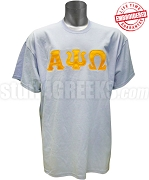 Alpha Psi Omega Men's T-Shirt with Greek Letters, Columbia Blue - EMBROIDERED with Lifetime Guarantee