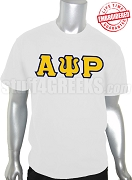 Alpha Psi Rho Greek Letter T-Shirt, White - EMBROIDERED with Lifetime Guarantee