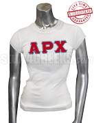 Alpha Rho Chi Ladies' T-Shirt with Greek Letters, White - EMBROIDERED with Lifetime Guarantee