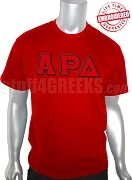 Alpha Rho Delta Greek Letter T-Shirt, Red - EMBROIDERED with Lifetime Guarantee