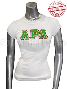 Alpha Rho Lambda T-Shirt with Triple Greek Letters, White - EMBROIDERED with Lifetime Guarantee