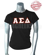 Alpha Sigma Delta Greek Letter T-Shirt, Black - EMBROIDERED with Lifetime Guarantee