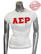 Alpha Sigma Rho Greek Letter T-Shirt, White - EMBROIDERED with Lifetime Guarantee