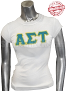Alpha Sigma Tau Greek Letter T-Shirt, White - EMBROIDERED with Lifetime Guarantee